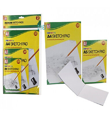 3 Pack Of A4 A5 & A6 Artist Sketch Drawing Books Pads 20 Sheets