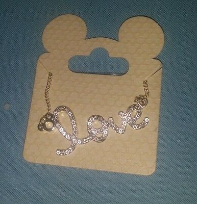 """Disney Parks  Mickey Mouse Icon """"Love"""" Necklace NEW on card"""