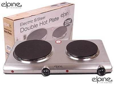 Stainless Steel Double Hot Plate 2 Ring Hob Solid Electric Mobile Stove Portable