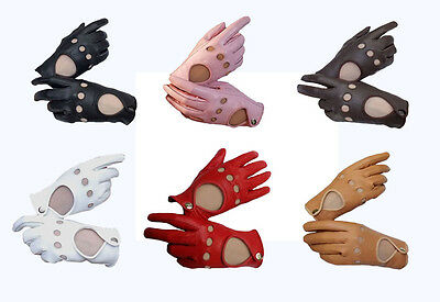 Women's Lambskin Genuine Leather unlined Driving Gloves with Free shipping.