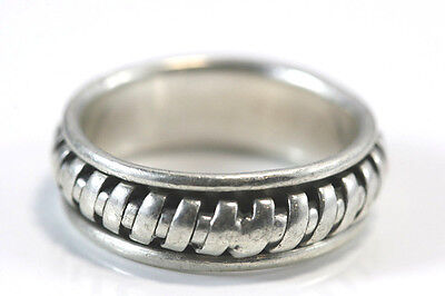 B525 Moveable Spinner Mens Band Ring Sterling 11.3g 925 Size 13