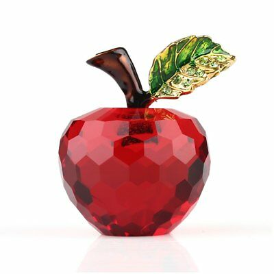 3D Crystal Paperweights Red Glaze Apple Figurine Glass Wedding Decor Gifts 40mm