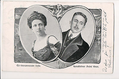 Vintage Postcard Louise of Austria Crown Princess of Saxony & Lover Andre Giron