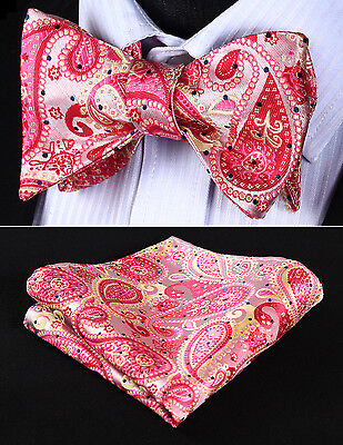 2be8ab26e169 BP706KS Pink Beige Paisley Bowtie Men Silk Self Bow Tie handkerchief set