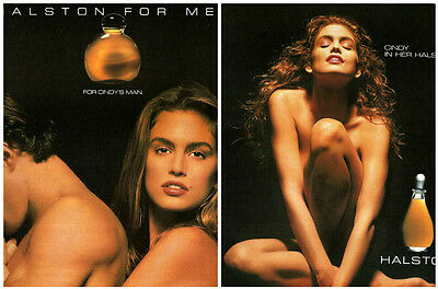 2 CINDY CRAWFORD Supermodel HALSTON For Her Man COLOGNE Advertisements ADS 1990
