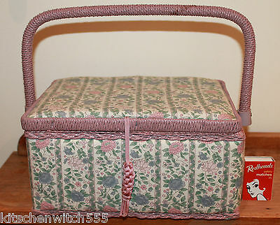 Floral Sewing Box Basket Blue Green Wicker Cane Pink Lined Storage Craft Vintage