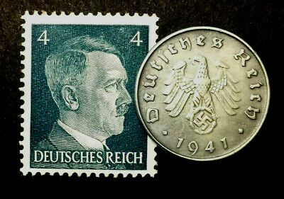 WW2 German 10 Reichspfennig Coins with Rare & Unused Stamp Historical Artifacts