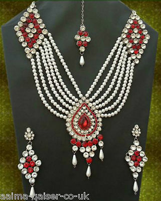 Indian Vintage Jewellery Set Silver Plated Red Clear Pearls New - Aq/173