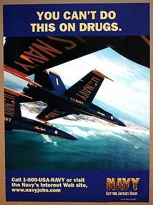 Unites States Navy 'you Can't Do This On Drugs' Blue Angels -Recruiting  Poster