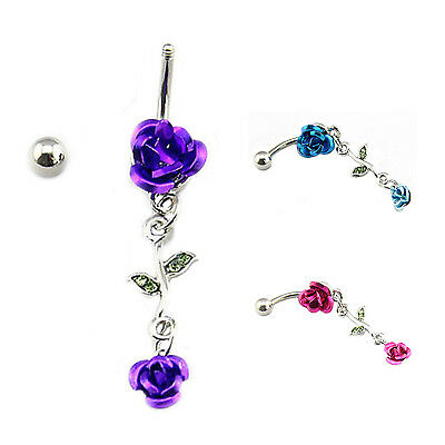 Rose Barbell Belly Bar Ring Button Navel Body Piercing Jewelry Dance Dangle FK