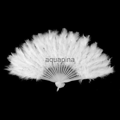 Feather Fan Folding Hand Costume Wedding Showgirl Dance Fancy Party White