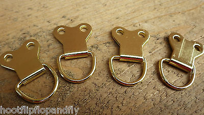 10 Eb Large Heavy Duty Electro Brass Picture Frame D Rings Hanging Brackets Hook