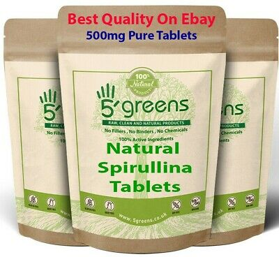 Organic Spirulina 500mg Tablets Detox Cleanse Energy Immune Booster Weight loss