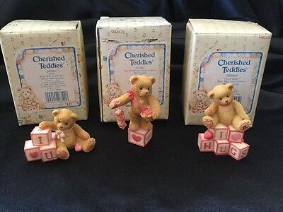Enesco Cherished Teddies Lot Of 3 - 203075, 203084 & 902969 Heart Blocks Love