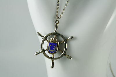 Vintage 925 Sterling Nautical Ships Wheel Pendant Yacht Club Crescent