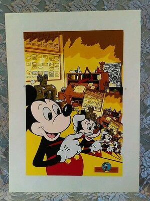 "Disney Impressions Mickey Mouse Giclee Serigraph Cel Large RARE Art Print 19""x14"