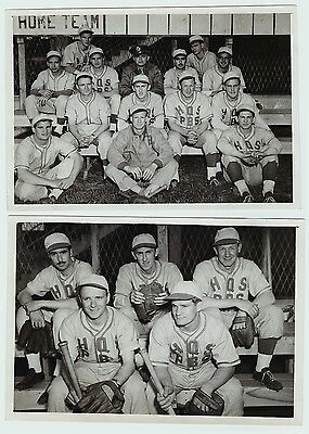 RARE - 2 Restricted WWI Photos US Soldier Baseball Team Italy 1945 Harry Walker+