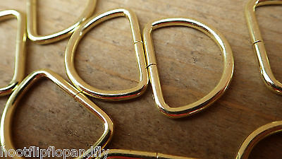 """25 EB LARGE BRASSED D RINGS 25mm 1"""" CURTAINS BLIND BELT LEATHER CRAFT HOBBY"""