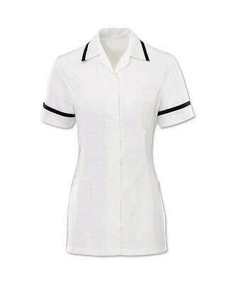 Womens Nurses Healthcare Tunic Dental Salon Nhs. White With Navy Trim, Ins32Wh/N