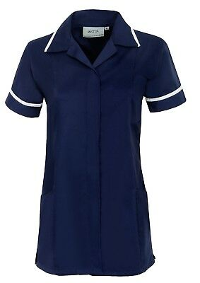 Womens Nurses Healthcare Tunic, Dental Salon, Nhs. Navy With White Trim. Ins32Nv