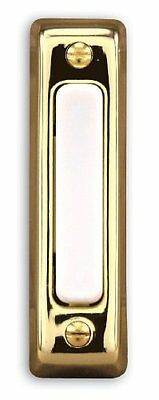 Heath Zenith 711P Wired Door Chime Push Button, Gold with White Center Bar, New,