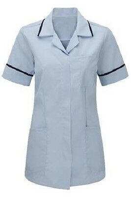 Womens Nurses Healthcare Tunic Dental Sky Blue With Navy Trim Uk 8-24. Ins32Sk-N