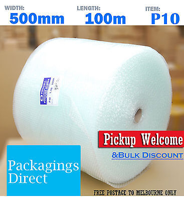 Bubble Cushioning Wrap 500mm x 100M Roll Clear P10 10mm Bubbles - High Quality