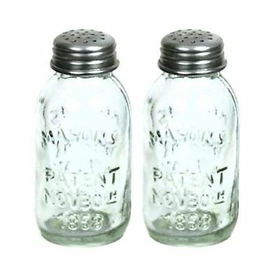 Set of 2 Glass Mason Jar Salt and Pepper Shakers (CTW) Brand new - Free shipping