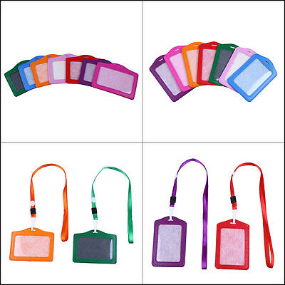 PU Leather Credit Card ID Window Badge Holder w/ Neck Necklace Lanyard