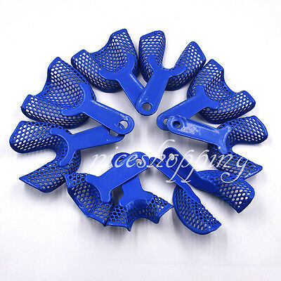 10 Pcs Dental Plastic-Steel Impression Trays Denture Instruments Materials