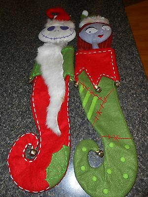 Disney Nightmare before Christmas Jack and Sally Felt Stockings   RARE