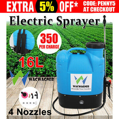 WACWAGNER 16L Electric Weed Sprayer Rechargeable Backpack Farm Garden Pump Spray