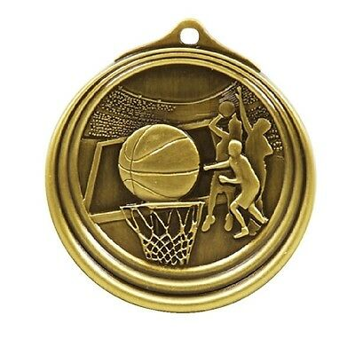 Basketball Antique Medal Gold 50mm With Neck Ribbon Engraved FREE