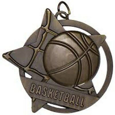 Basketball Medal 50mm Diameter Antique Gold  Engraved FREE / Ribbon Included