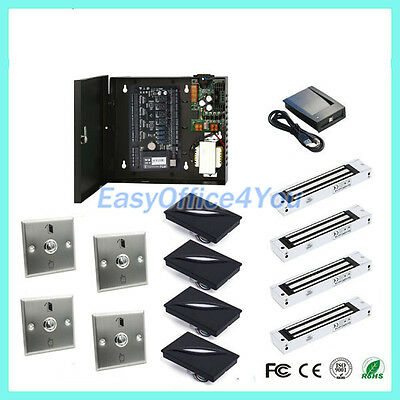 ZKAccess Card Access Systems C3-400 IP Based Kits 4 Magnetic Locks+Readers+Cards