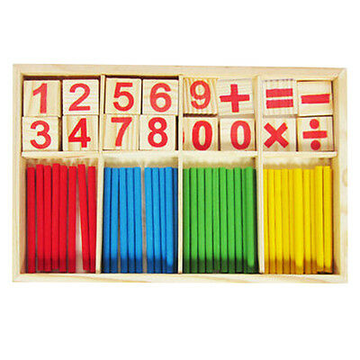 Baby Wooden Counting Math Game Mathematics Toys Stick BF