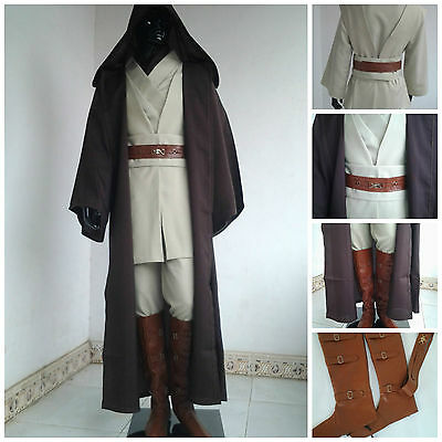 Deluxe Star Wars Obi Wan Kenobi Jedi Master Costume Cosplay Cloak Tunic Robe