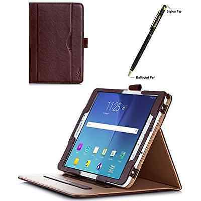 Leather Tablet Samsung Galaxy Tab S2 8.0 Folio Case Document Card Pocket Brown