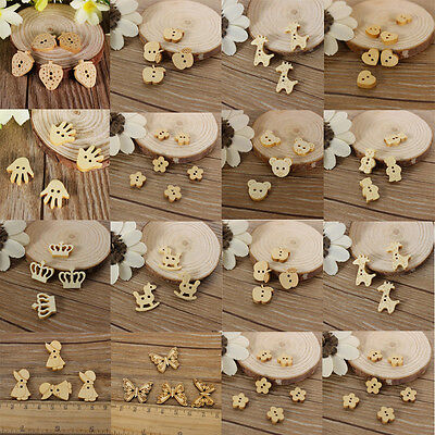 100/50Pcs Baby Children Cute Wood Buttons Mix Beads Scrapbook Craft Sewing Home