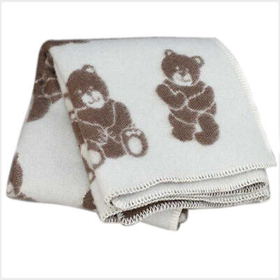 "LAMBS WOOL COTTON BABY BLANKET TEDDY 35""X51""  brown"