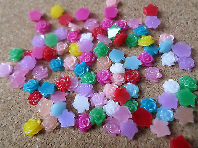 50 x Resin Flatback Cabochons - 5mm - Flower - Mixed Colour