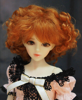 """1/6 or 1/4 bjd 6-7"""" doll wig Orange Brown curly real mohair W-187S dollfie"""