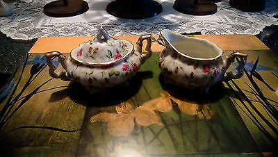 Lefton China hand painted cream and sugar dish with lid little pink roses