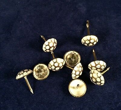 10 Vintage Atlas Hammered Steel Shabby Ivory/Brass Clavos Furniture Nails Tacks