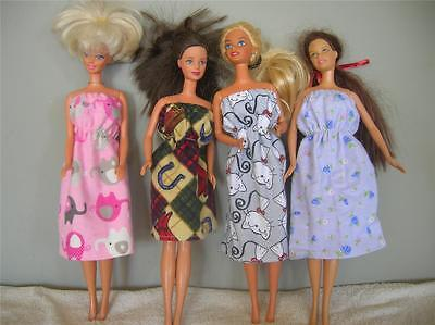 Barbie Doll Clothes Handmade Lot Of 4 Dresses Nightgowns Set 5