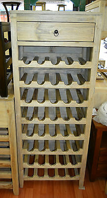 Rustic Mango wood  Wine Rack wine storage  bottles  tall narrow