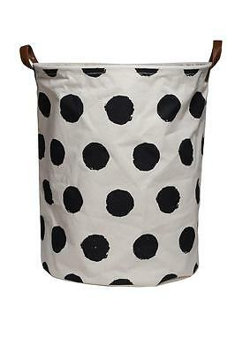 NEW EDC Canvas Storage Basket Laundry Hamper - Black Spot - For Toys Clothes