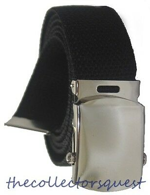 """NEW 1.5"""" WIDE 56"""" inch BLACK CHROME ROLLER BUCKLE CANVAS MILITARY WEB BELT"""