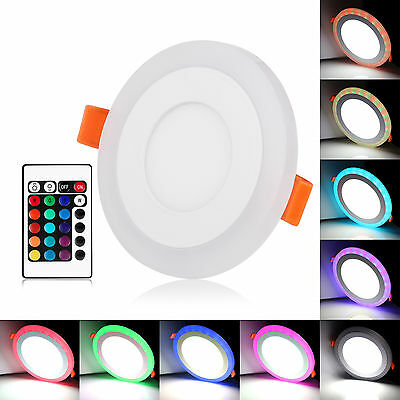 100-265V Ultra Slim 6W 9W 18W 24W Round Concealed Dual Color LED Panel Light Lam