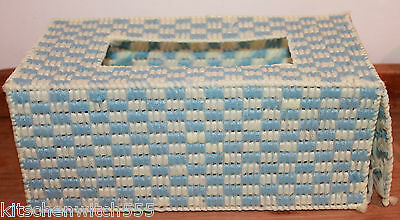 Vintage Tissue Holder Box Cover Blue Lemon Woven Nylon Vanity Bathroom Home